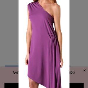 Haute Hippie XS purple one shoulder rouched dress